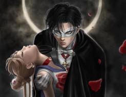аниме, sailor moon, маска, взгляд, парень, девушкa
