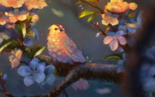 рисованное, животные, цветы, ветка, птица, дерево, листья, птичка