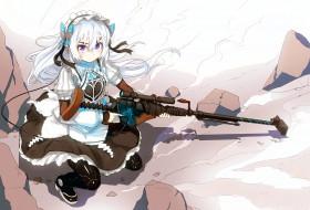chaika -the coffin princess-, аниме, hitsugi no chaika, девушка, оружие, фон, взгляд