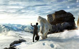 снежный человек, Селфи, йети, бизнесмен, человек, портфель, горы