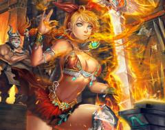 фэнтези, магия, огонь, девушка