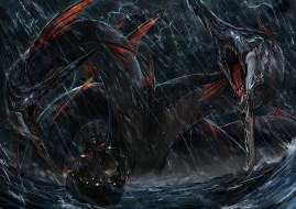 фэнтези, существа, гидра, корабль