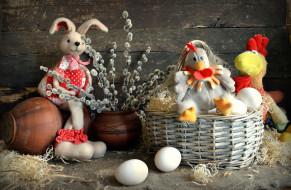 праздничные, пасха, корзинка, яйцо, кролик, курица, игрушки, верба