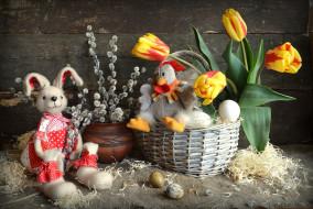 праздничные, пасха, игрушки, кролик, курица, яйца, верба, тюльпаны