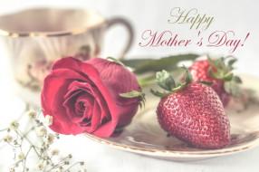 праздничные, день матери, роза, клубника, день, матери