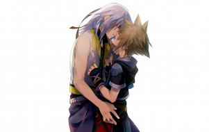 аниме, kingdom hearts, kingdom, hearts, парни, нежность