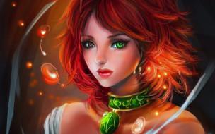 фэнтези, девушки, разноглазая, девушка, рыжая, ожерелье