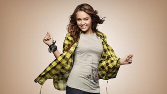 футболка, браслеты, рубашка, певица, танец, улыбка, Майли Сайрус, актриса