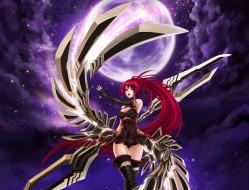 аниме, kaku-san-sei million arthur, луна, девушка, меч, крылья, ночь