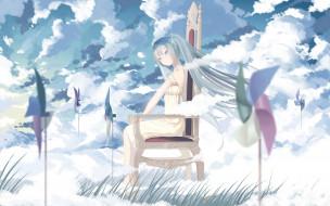 обои для рабочего стола 2560x1600 аниме, vocaloid, облака, девочка
