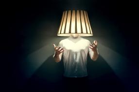 светильник, фон, человек