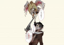 обои для рабочего стола 2560x1800 аниме, satsuriku no tenshi, коса, девушка, зак, ангел, кровопролития