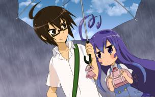 acchi kocchi, аниме, девушка, взгляд, фон, парень