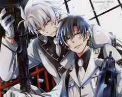 аниме, aoharu x kikanjuu, галстук, ухмылка, пистолет, двое, автомат, военная, форма, парни