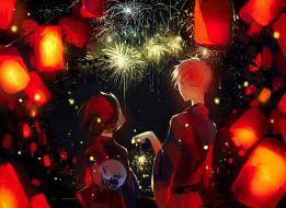 аниме, hotarubi no mori e, кимоно, двое, девушка, парень, фейерверк, ночь, небо, фонарики, маска