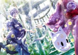 аниме, hotarubi no mori e, парень, лестница, gin, девушка, арт, kaorie, природа, кимоно, маска, hotarubi, no, mori, e, takegawa, hotaru