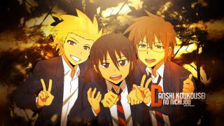 daily lives of high school boys, аниме, danshi koukousei no nichijou, парни, взгляд, фон