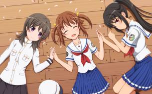 аниме, high school fleet, фон, взгляд, девушки