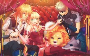 moujuutsukai to oujisama, аниме, украшения, повязка, волк, занавески, лев, miko, диван, art, tiana, matheus, alfred, visual, novel, beast, master, and, prince