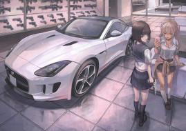 аниме, unknown,  другое, взгляд, автомобиль, фон, девушки