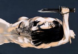 аниме, jormungand, девушка, нож, взгляд, спина