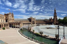 площадь, канал, фонтан, мостик