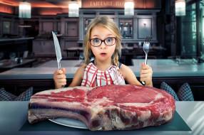 огромный, мясо, кусок, девочка