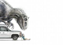 обои для рабочего стола 3000x2160 аниме, животные,  существа, девочка, машина, динозавр