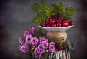 еда, вишня,  черешня, розы, ягоды