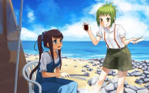 amanchu, аниме, девушки, взгляд, фон