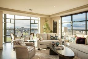 интерьер, гостиная, окна, стол, стиль, кресло, диван, дизайн