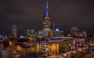 downtown nashville, города, нэшвилл , сша, башня, ночь