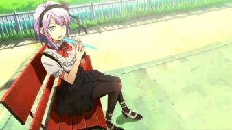 dagashi kashi, аниме, девушка, фон, взгляд