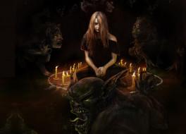 фэнтези, красавицы и чудовища, свечи, круг, арт, девушка, духи, демоны, призыв