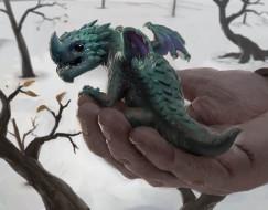 фэнтези, драконы, доброта, peter, stapleton, дракончик, рука, арт, фентези