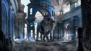 фэнтези, фотоарт, fantasy, лев, carles, marsal, руины, девушка