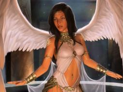 фэнтези, ангелы, девушка, взгляд, крылья, angel, ангел, арт, поза