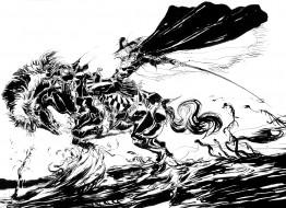 аниме, di, vampire, hunter, d, ди, yoshitaka, amano, art, охотник, меч, плащ, всадник, лошадь, графика, чёрно-белая