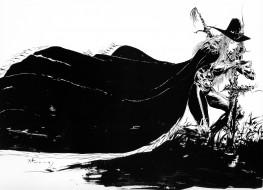 аниме, di, графика, могила, крест, ди, vampire, hunter, d, плащ, меч, art, yoshitaka, amano, охотник, чёрно-белая, шляпа