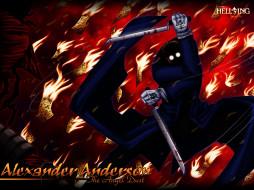 аниме, hellsing, огонь, меч, оружие, alexader, anderson