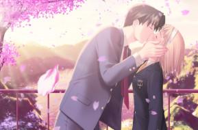 аниме, after sweet kiss, девушка, взгляд, фон, парень