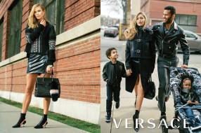 бренды, versace, версаче, блондинка, куртка, юбка, gigi, hadid, модель, свитер, сумка, здание, семья, дети