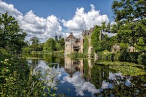 scotney castle, города, замки англии, лес, горы, замок, озеро