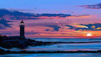 рисованное, природа, пейзаж, арт, чайки, небо, закат