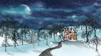 рисованное, природа, зима, деревья, снег