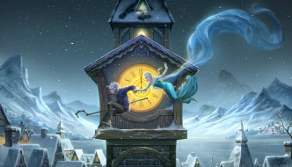 рисованное, - другое, полночь, зима, башня, парень, девушка, ночь, rise, of, the, guardians, art, elsa, frozen, jack, frost