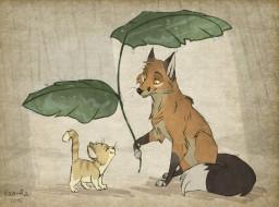 рисованное, животные, кот, лис