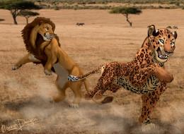 рисованное, животные, лев, тигр
