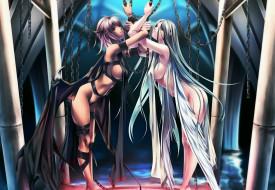 аниме, ангелы,  демоны, цепи, плащи, девушки