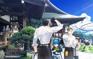 обои для рабочего стола 3186x2025 аниме, touken ranbu, парни
